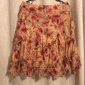 Floral silk tiered skirt by Sundance
